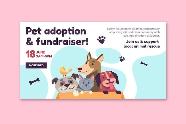 Adopteer een huisdier uit de websjabloon van de banner van het asiel Gratis Vector