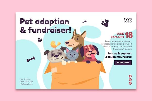 Adopteer een huisdier uit de websjabloon voor de bestemmingspagina van het asiel Gratis Vector
