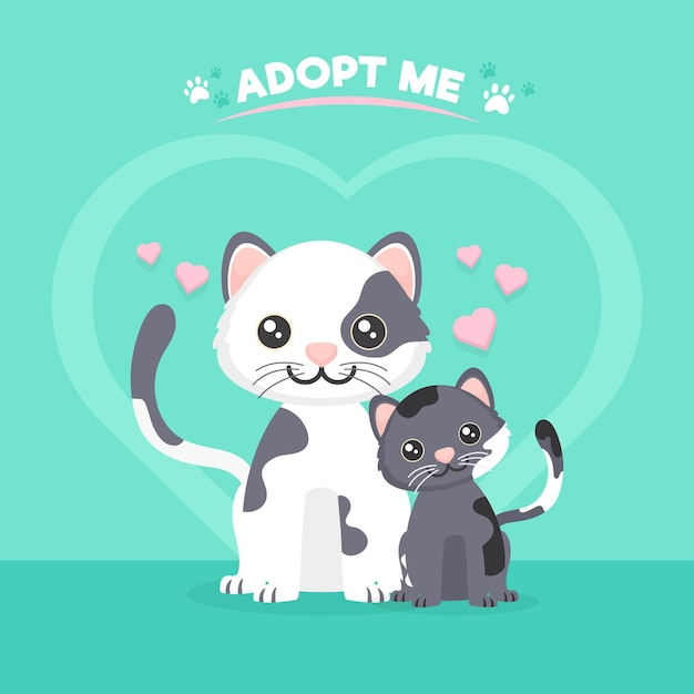 Adopteer een huisdierconcept met schattige katten Gratis Vector