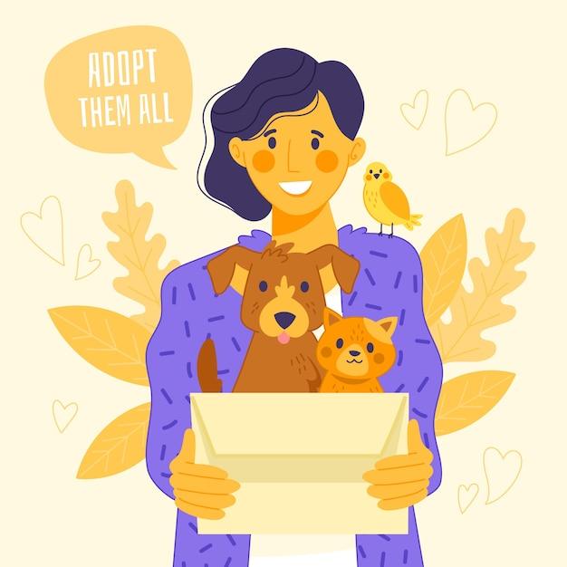 Adopteer een huisdierconcept Gratis Vector