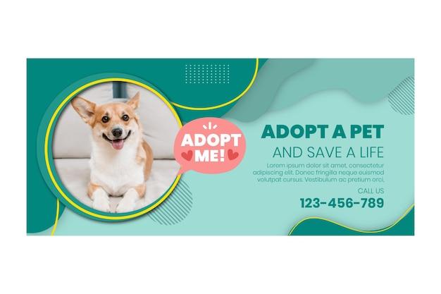 Adopteer een sjabloon voor een huisdierbanner Gratis Vector