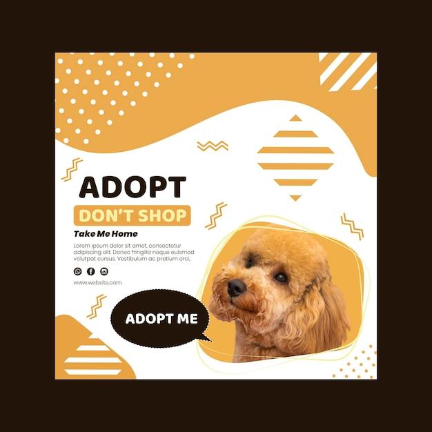 Adopteer een sjabloon voor een vierkante flyer voor huisdieren Premium Vector