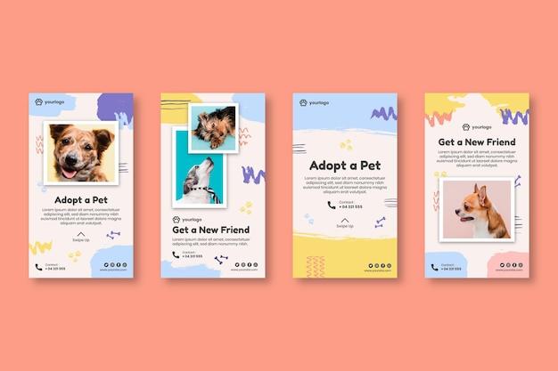 Adopteer een verzameling instagram-verhalen voor huisdieren Gratis Vector