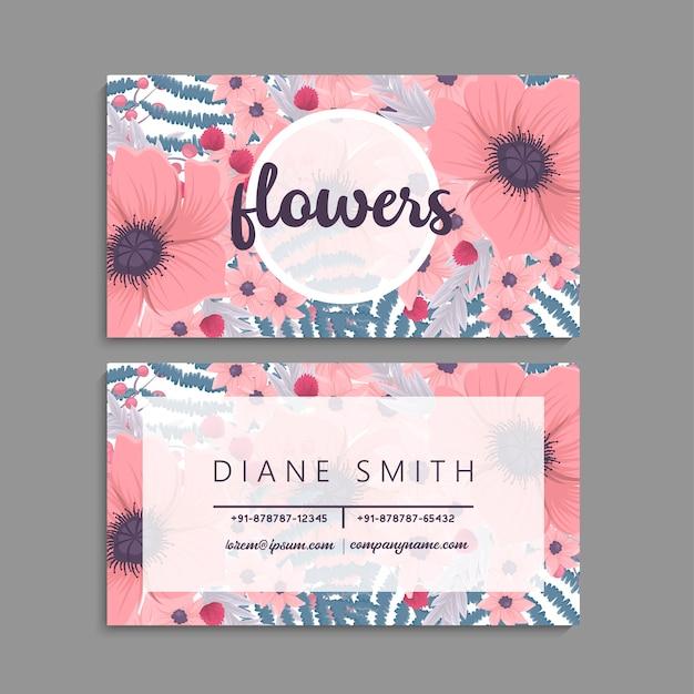 Adreskaartje met mooie bloemen. sjabloon Gratis Vector