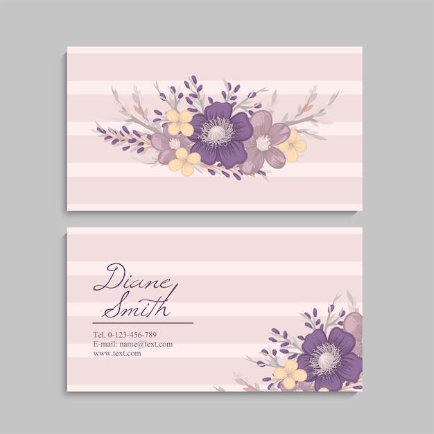 Adreskaartje met mooie bloemen Gratis Vector