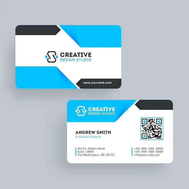 Adreskaartje of visitekaartjemalplaatjeontwerp in voor en achtermening. Premium Vector