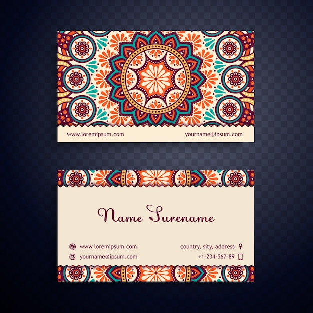 Adreskaartje vintage decoratieve elementen hand getekende achtergrond Gratis Vector
