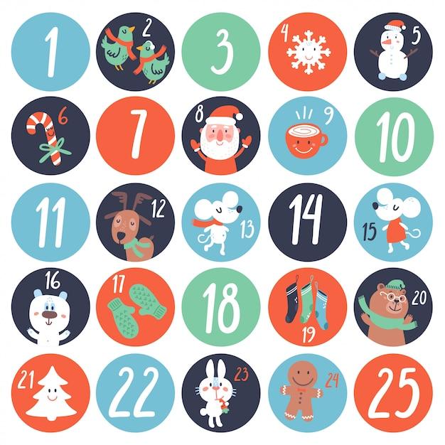 Advent countdown calendar met stripfiguren en symbolen. Premium Vector