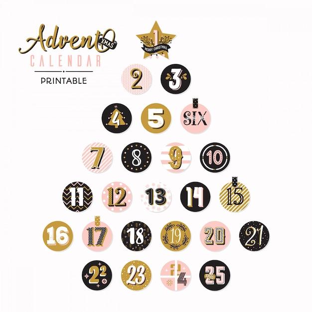 Advent kalender kerstboom Premium Vector