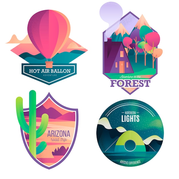 Adventure and travel modern badge collection Gratis Vector