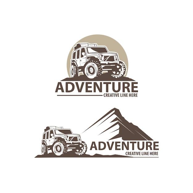 Adventure auto logo set Premium Vector