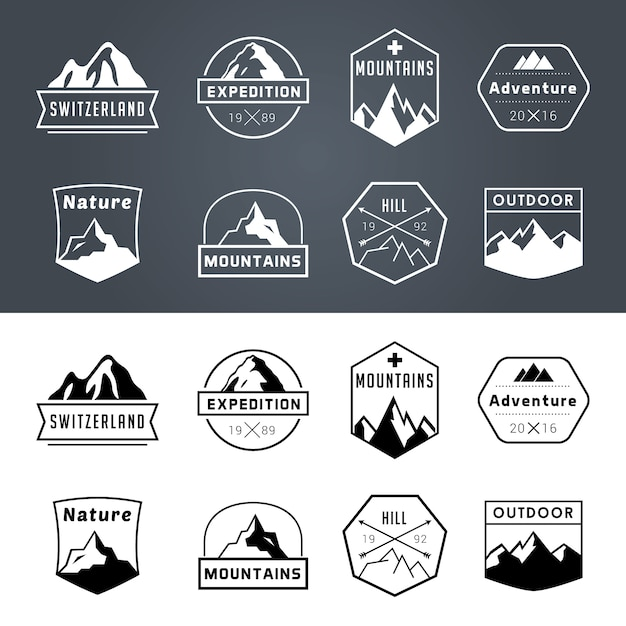 Adventure badge collectie Gratis Vector