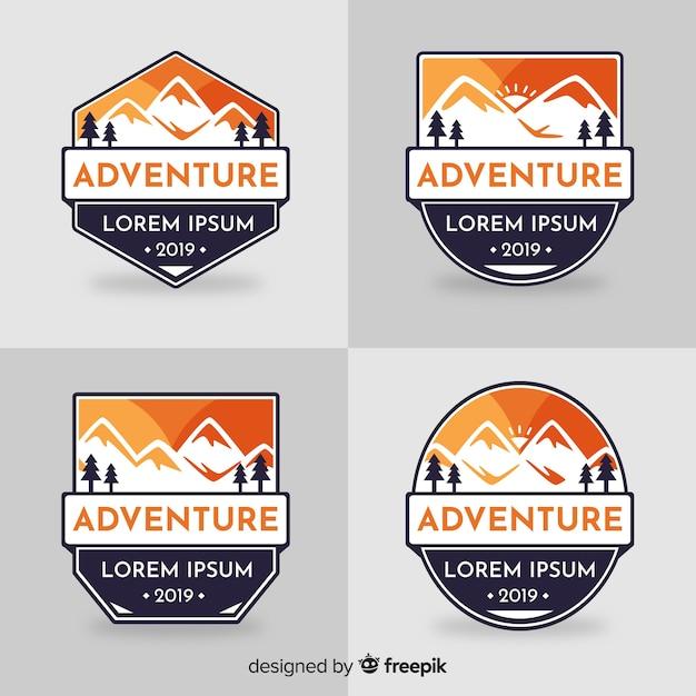 Adventure logo-collectie Gratis Vector