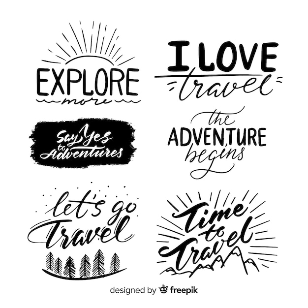 Adventure logo-collectie Gratis Vector