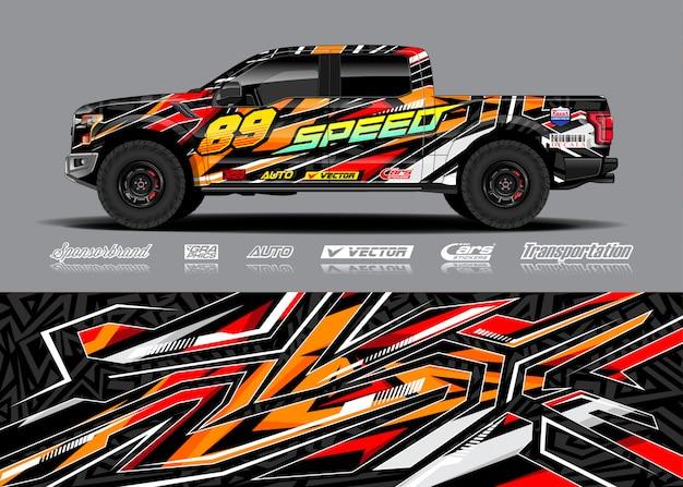Adventure voertuig wrap illustratie Premium Vector