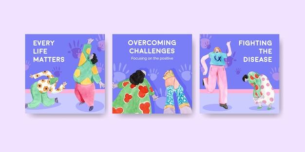 Adverteer sjabloon met conceptontwerp van de dag van het syndroom van down voor marketing aquarel illustratie Gratis Vector