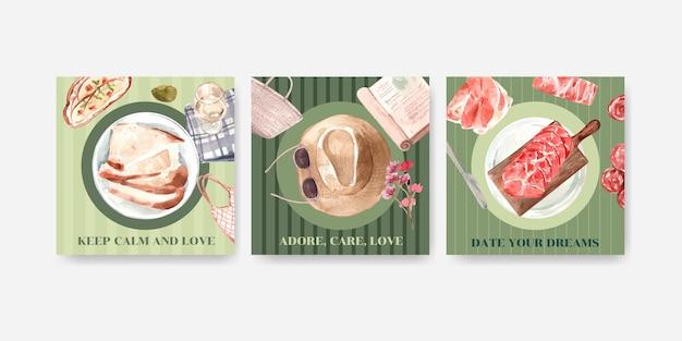 Adverteer sjabloon met europese picknick conceptontwerp voor marketing aquarel illustratie. Gratis Vector