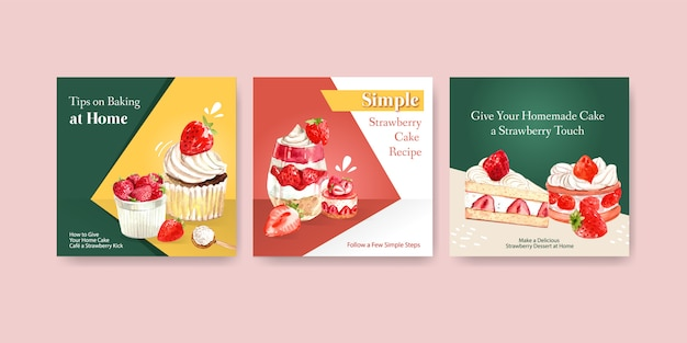 Adverteer sjabloon met het ontwerp van het aardbeibakken met cupcake, kwarktaart en shortcake waterverfillustratie Gratis Vector