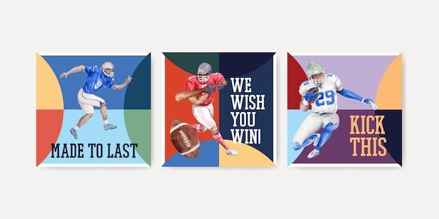 Adverteer sjabloon met super kom sport conceptontwerp voor marketing aquarel vectorillustratie. Gratis Vector