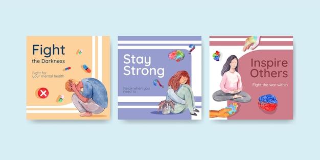 Adverteer sjabloon met wereld geestelijke gezondheid dag conceptontwerp voor marketing aquarel vector illustraion. Gratis Vector