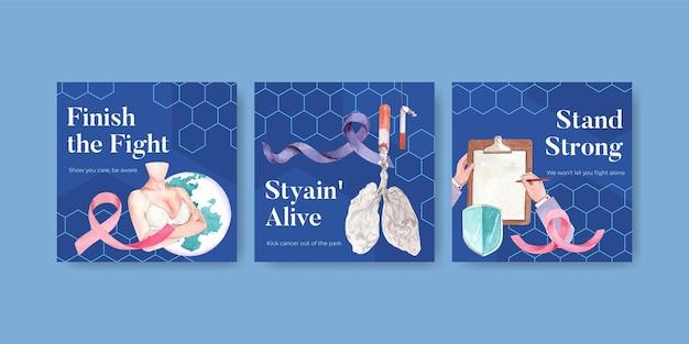 Adverteer sjabloon met wereld kanker dag conceptontwerp voor marketing aquarel vectorillustratie. Gratis Vector
