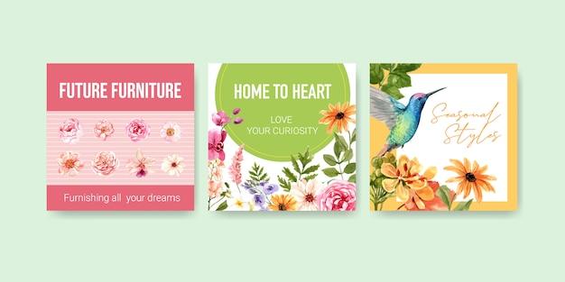 Adverteer sjabloon met zomerbloem ontwerp aquarel Gratis Vector