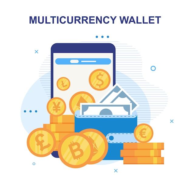 Advertentie voor mobiele portemonnee met meerdere valuta's Premium Vector