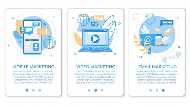 Advertentiebanner video e-mail mobiele marketing. Premium Vector