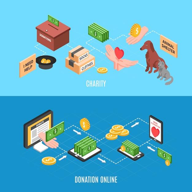 Advertentiebanners voor goede doelen met aanbiedingen om online donaties te doen en humanitaire hulp Gratis Vector