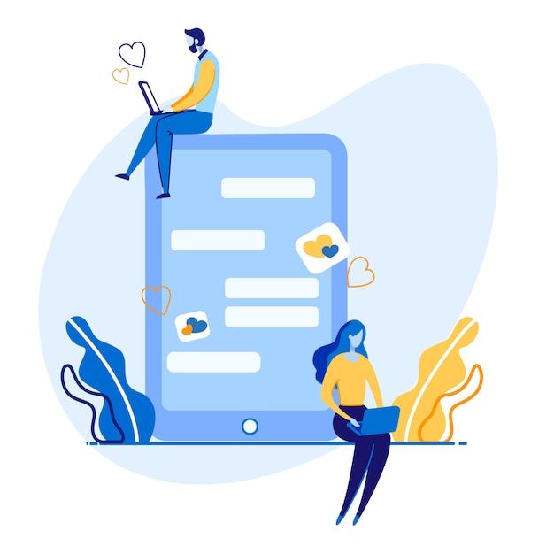 Advertentieposter sociale netwerkcommunicatie. Premium Vector