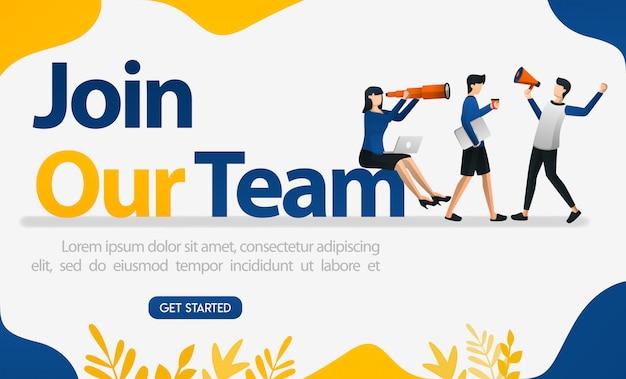 Advertenties voor personeelsadvertenties met de woorden join our team Premium Vector