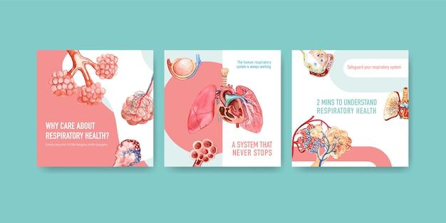 Advertenties voor sjabloonontwerp met menselijke anatomie van de long en de luchtwegen Gratis Vector