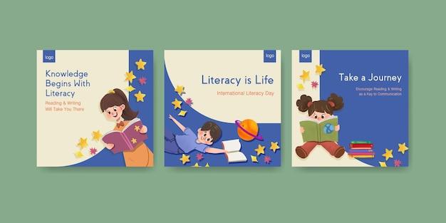 Advertentiesjabloon met conceptontwerp van de internationale dag van de alfabetisering voor zakelijke marketing aquarel. Gratis Vector