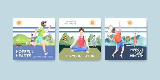 Advertentiesjabloon met conceptontwerp van de wereld geestelijke gezondheid dag voor adverteren en marketing van aquarel Gratis Vector