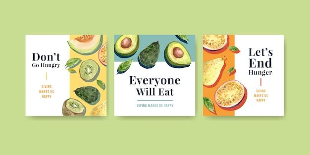 Advertentiesjabloon met conceptontwerp van de wereldvoedseldag voor reclame en marketing van aquarel Gratis Vector