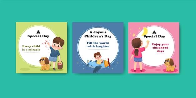 Advertentiesjabloon met conceptontwerp voor kinderdag Gratis Vector