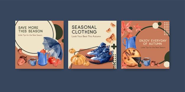 Advertentiesjabloon met herfst dagelijks conceptontwerp voor reclame en marketingwaterverf Gratis Vector