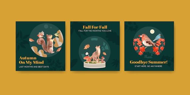 Advertentiesjabloon met herfstbos en dieren Gratis Vector