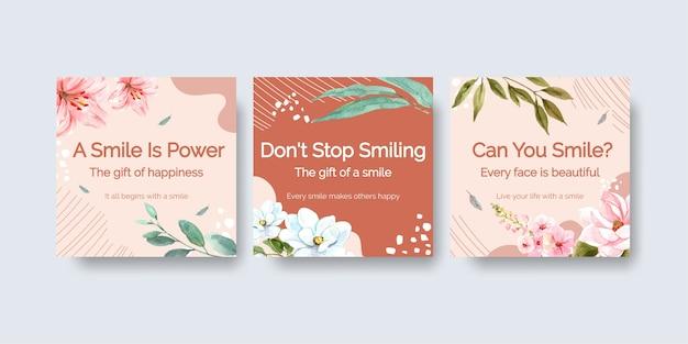 Advertentiesjabloon met het ontwerp van het bloemenboeket voor het concept van de wereldglimlachdag om waterverf vectorillustraion op de markt te brengen. Gratis Vector