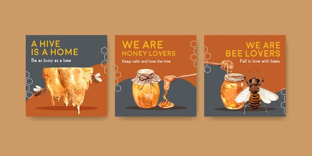 Advertentiesjabloon met honing voor marketing en reclame voor aquarel Gratis Vector