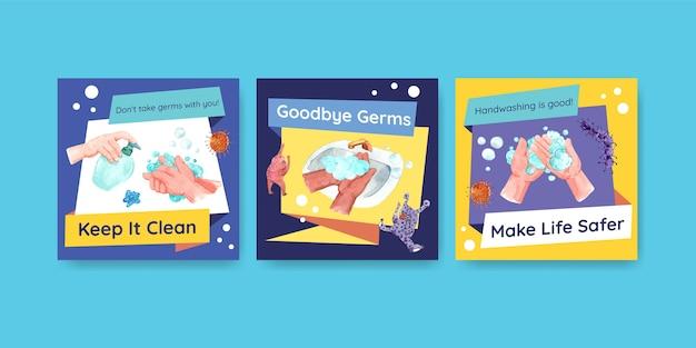 Advertentiesjabloon met wereldwijd conceptontwerp voor de handwasdag voor adverteren en folderwaterverf Gratis Vector