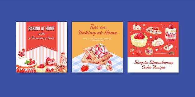Adverteren sjabloon met aardbei bakken ontwerp met pannenkoeken, wafels, pannenkoeken, shortcake jelly roll en cheesecake aquarel illustratie Gratis Vector