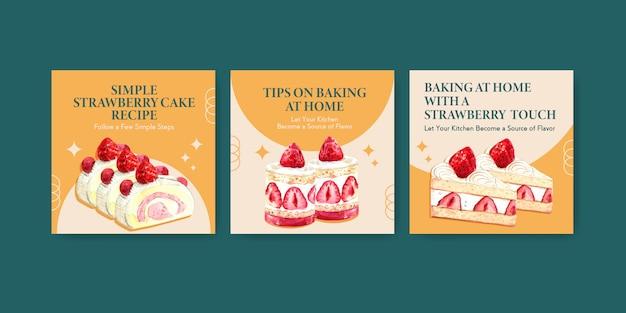 Adverteren sjabloon met aardbei bakken ontwerp met shortcake jelly roll, verrukking cheesecake aquarel illustratie Gratis Vector