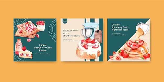Adverteren sjabloon met aardbei bakken ontwerp voor brochure, eten bestellen, folder en boekje aquarel illustratie Gratis Vector
