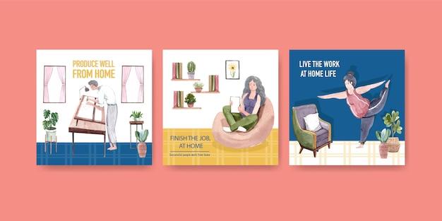 Adverteren sjabloonontwerp met mensen werkt vanuit huis en lichaamsbeweging. kantoor aan huis concept aquarel vectorillustratie Gratis Vector