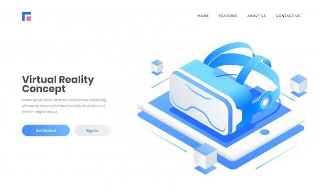 Adverteren website landing page design met 3d vr-bril op tabletscherm voor virtual reality concept. Premium Vector