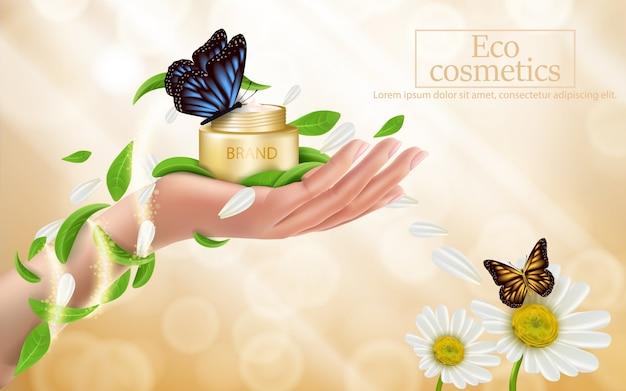 Adverterende affiche van een bevochtigend kosmetisch product Gratis Vector