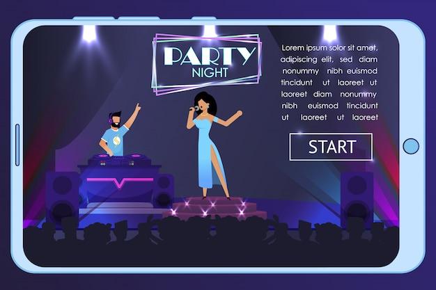 Advertising night party banner op mobiel scherm Premium Vector