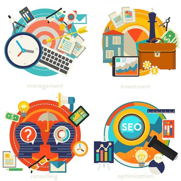 Advies, management, investeringen en strategieconcepten illustraties Premium Vector
