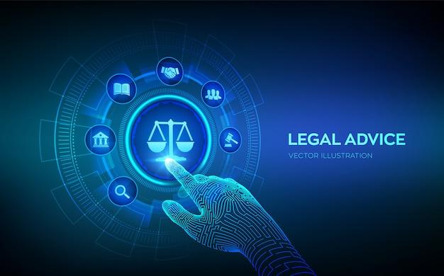 Advocaat. juridisch advies concept op virtueel scherm. robotachtige hand wat betreft digitale interface. Premium Vector